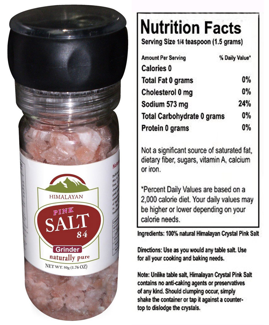 Salt Grinder, glass bottle, filled with 84Salt Pink Crystal Himalayan Salt